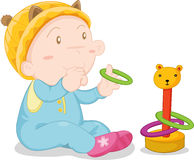Baby boy. An illustration of a baby boy playing Stock Image