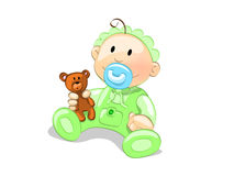Baby boy. Sweet baby boy in green royalty free illustration