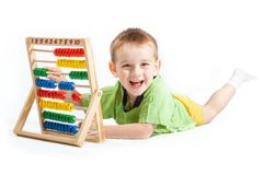 Baby boy with abacus Royalty Free Stock Images