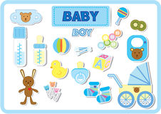 Baby boy accessories. Baby accessories for boy in blue tone color Royalty Free Stock Image