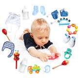 Baby boy and accessories for children in a circle around Stock Photography