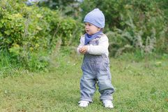 Baby boy age of 11 months outdoors Royalty Free Stock Photography