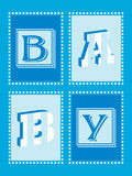 Baby Boy Announcement. Card with funky lettering Stock Image