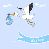 Baby boy announcement. Cute baby boy announcement card stock illustration