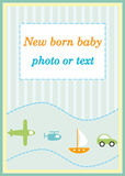 Baby boy announcement arrival card Royalty Free Stock Photography