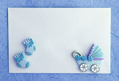 Baby boy announcement card Royalty Free Stock Images