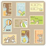 Baby boy announcement card. Collection of postal stamps royalty free illustration