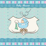 Baby boy announcement card. With baby and pram stock illustration