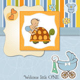 Baby boy announcement card Royalty Free Stock Image