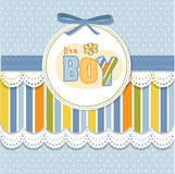 Baby boy announcement card. New baby boy announcement card vector illustration