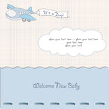 Baby boy announcement card with airplane. Fun baby boy announcement card with airplane vector illustration
