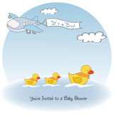 Baby boy announcement card with airplane Royalty Free Stock Images
