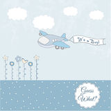 Baby boy announcement card with airplane. In vector format royalty free illustration