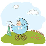 Baby boy announcement card with baby. And pram Royalty Free Stock Photos