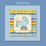 Baby boy announcement card with baby. And pram Royalty Free Stock Image
