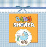 Baby boy announcement card with baby. And pram Royalty Free Stock Photography