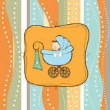 Baby boy announcement card with baby. And pram Stock Images