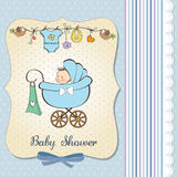 Baby boy announcement card with baby and pram. Vector illustration Stock Photos