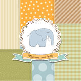 Baby boy announcement card with elephant Royalty Free Stock Photography