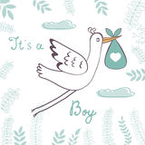 Baby boy announcement card Royalty Free Stock Photo