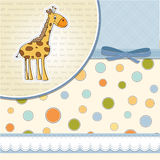 baby boy announcement card with giraffe Stock Photography