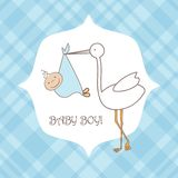 Baby boy announcement card.  illustration Royalty Free Stock Image