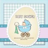 Baby boy announcement card with  pram. Baby boy announcement card with baby and pram Stock Photos