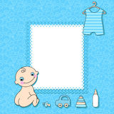 Baby boy announcement card. Stock Image