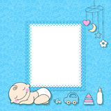 Baby boy announcement card. Royalty Free Stock Photography