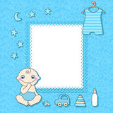 Baby boy announcement card. Stock Images