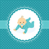 Baby boy announcement card. Royalty Free Stock Image