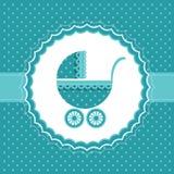 Baby boy announcement card. Vector illustration. Baby boy announcement card with baby buggy. Vector illustration Stock Image