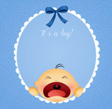Baby boy announcement postcard Royalty Free Stock Photography