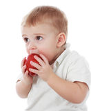 Baby boy and apple Stock Images
