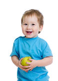 Baby boy with apple isolated Royalty Free Stock Images