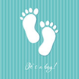 Baby boy arriival card with two foot steps Royalty Free Stock Photo