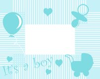 Baby boy arrival. Announcement card Royalty Free Stock Image