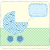 Baby boy arrival. Card -  illustration Royalty Free Stock Image
