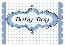 Baby boy arrival. With blue textures background royalty free illustration