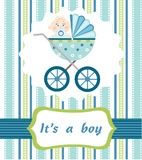 Baby boy arrival. On the blue background Royalty Free Stock Photos