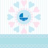 Baby Boy Arrival Announcement. Cute design for new baby boy arrival announcement card with space for copy, vector Stock Photos