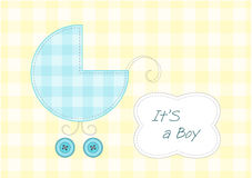 Baby boy arrival announcement. Stylized pram and text frame Stock Images