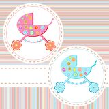 Baby boy arrival announcement. Greetings card Royalty Free Stock Photo