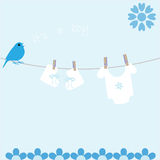 Baby Boy Arrival Announcement Card Royalty Free Stock Images