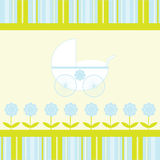 Baby Boy Arrival Announcement Card. Blue and green flowers and stripes with stroller as design for new baby boy arrival announcement card Stock Images