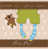 Baby Boy arrival announcement card. With plush bear Stock Image