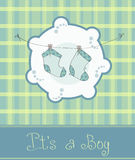Baby boy arrival announcement card. Green Baby boy arrival announcement card Stock Photography