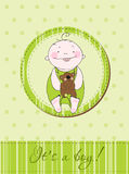 Baby boy arrival announcement card Royalty Free Stock Photos