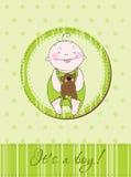 Baby boy arrival announcement card. Green Baby boy arrival announcement postcard Royalty Free Stock Photos