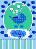 Baby boy arrival announcement card, . Royalty Free Stock Image
